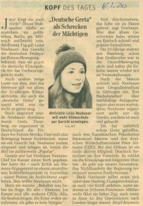 Luisa Neubauer, Gesicht und Stimme der deutschen Fridays-for-Future-Bewegung, bringt die deutsche Klimapolitik vor den Verfassungsgerichtshof. (der Standard, Kopf des Tages 16.01.20)